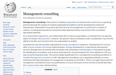 http://en.wikipedia.org/wiki/Management_consulting