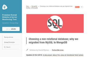 http://blog.serverdensity.com/choosing-a-non-relational-database-why-we-migrated-from-mysql-to-mongodb/