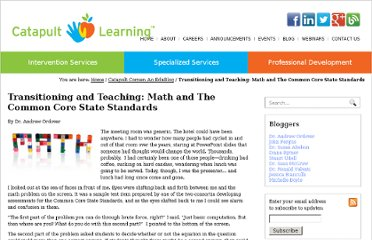 http://www.catapultlearning.com/2012/09/10/transitioning-and-teaching-math-and-the-common-core-state-standards/