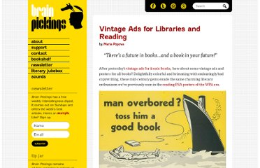 http://www.brainpickings.org/index.php/2012/09/11/vintage-ads-for-libraries-and-reading/