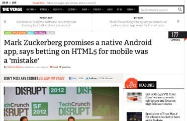 http://www.theverge.com/2012/9/11/3317230/mark-zuckerberg-betting-on-html5-for-mobile-was-a-mistake-hints-at