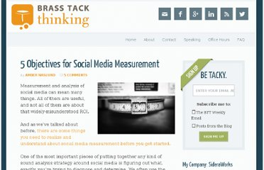 http://www.brasstackthinking.com/2010/06/5-objectives-for-social-media-measurement/