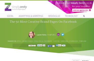 http://www.simplyzesty.com/facebook/40-creative-brands-on-facebook/