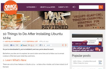 http://www.omgubuntu.co.uk/2012/04/10-things-to-do-after-installing-ubuntu-12-04