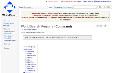 http://wiki.sk89q.com/wiki/WorldGuard/Regions/Commands