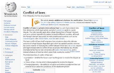 http://en.wikipedia.org/wiki/Conflict_of_laws