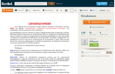 http://fr.scribd.com/doc/7794264/Metadonnees