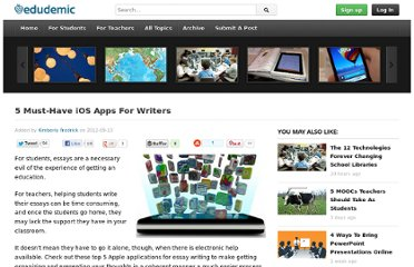 http://edudemic.com/2012/09/5-must-have-ios-apps-for-writers/