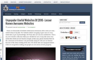 http://www.coolpctips.com/2011/01/unpopular-useful-websites-of-2010/