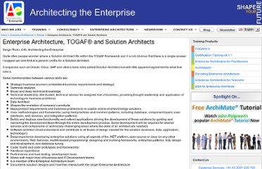 http://www.architecting-the-enterprise.com/enterprise_architecture/articles/enterprise_architecture,_togaf_and_solution_architects.php