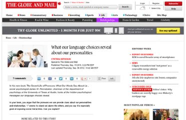 http://www.theglobeandmail.com/life/relationships/what-our-language-choices-reveal-about-our-personalities/article594469/