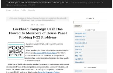 http://pogoblog.typepad.com/pogo/2012/09/lockheed-campaign-cash-has-flowed-to-members-of-house-panel-probing-f-22-problems.html