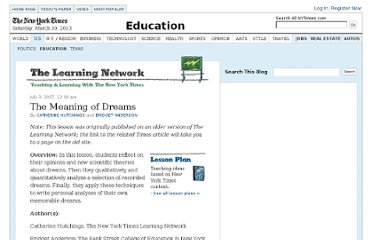 http://learning.blogs.nytimes.com/2007/07/03/the-meaning-of-dreams/