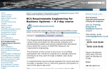 http://training.gbdirect.co.uk/courses/bsd_iseb/bcs-requirements-engineering-for-business-systems.html