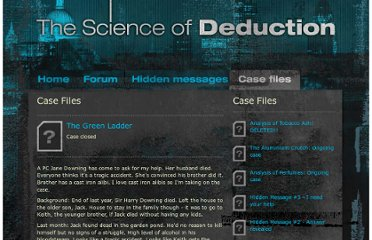 http://www.thescienceofdeduction.co.uk/casefiles/thegreenladder