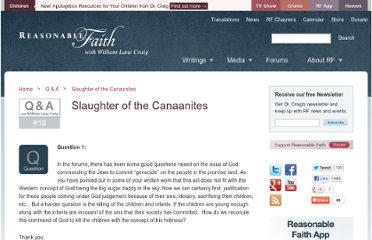 http://www.reasonablefaith.org/slaughter-of-the-canaanites
