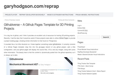 http://garyhodgson.com/reprap/2012/09/githubiverse-a-github-pages-template-for-3d-printing-projects/