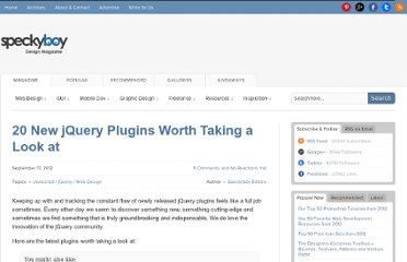 http://speckyboy.com/2012/09/17/20-new-jquery-plugins-worth-taking-a-look-at/