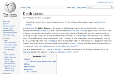 http://en.wikipedia.org/wiki/Dutch_disease