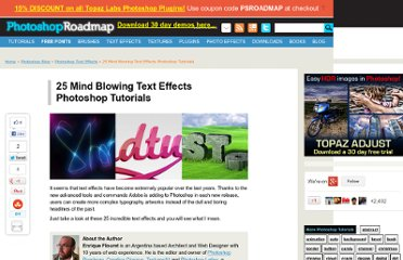 http://www.photoshoproadmap.com/Photoshop-blog/25-mind-blowing-text-effects-photoshop-tutorials/