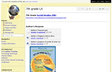 http://middleschooltech.wikispaces.com/7th+grade+LA