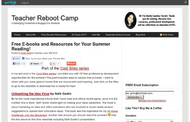 http://teacherbootcamp.edublogs.org/2010/06/19/free-e-books-and-resources-for-your-summer-reading/