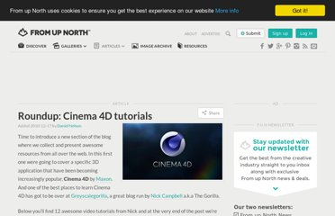 http://www.fromupnorth.com/roundup-cinema-4d-tutorials/