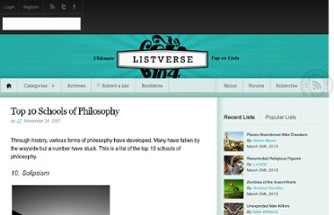 http://listverse.com/2007/11/24/top-10-schools-of-philosophy/