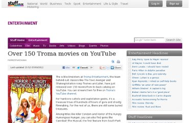 http://www.stuff.co.nz/entertainment/film/7634640/Over-150-Troma-movies-on-YouTube