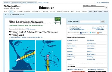 http://learning.blogs.nytimes.com/2012/09/20/writing-rules-advice-from-the-new-york-times-on-writing-well/