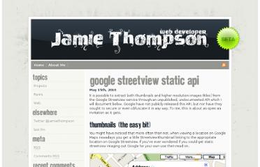 http://jamiethompson.co.uk/web/2010/05/15/google-streetview-static-api/
