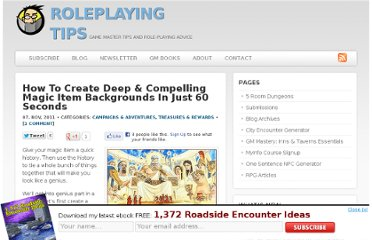 http://www.roleplayingtips.com/campaigns/how-to-create-deep-compelling-magic-item-backgrounds-in-just-60-seconds/