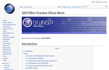 https://www.owasp.org/index.php/XSS_Filter_Evasion_Cheat_Sheet