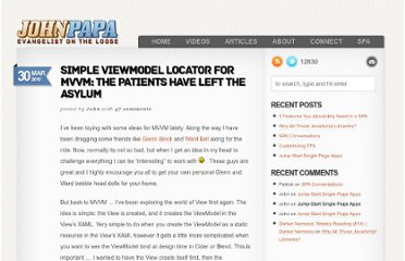 http://www.johnpapa.net/simple-viewmodel-locator-for-mvvm-the-patients-have-left-the-asylum/