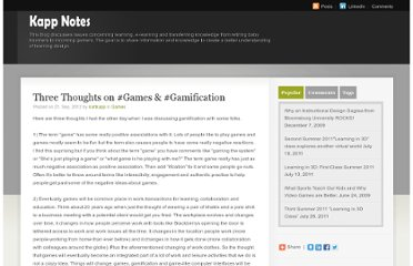 http://www.uleduneering.com/kappnotes/index.php/2012/09/three-thoughts-on-games-gamification/
