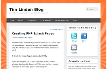 http://www.timlinden.com/blog/social-marketing/creating-php-splash-pages/