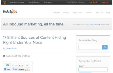 http://blog.hubspot.com/blog/tabid/6307/bid/33615/17-Brilliant-Sources-of-Content-Hiding-Right-Under-Your-Nose.aspx