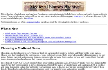 Medieval Names Archive