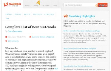 http://www.smashingmagazine.com/2006/09/22/complete-list-of-best-seo-tools/