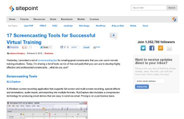 http://www.sitepoint.com/17-screencasting-tools-for-virtual-training/
