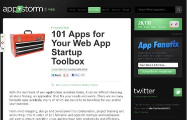 http://web.appstorm.net/roundups/freelancing-tools/101-apps-for-your-web-app-startup-toolbox/