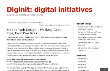http://diginit.wordpress.com/2009/11/13/mobile-web-design-working-code-tips-best-practices/