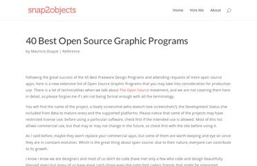 http://www.snap2objects.com/2007/08/40_best_open_source_graphic_programs/