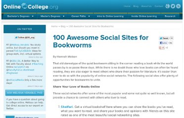 http://www.onlinecollege.org/2009/08/24/100-awesome-social-sites-for-bookworms/