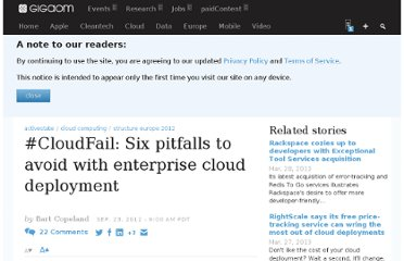 http://gigaom.com/2012/09/23/cloudfail-six-pitfalls-to-avoid-with-enterprise-cloud-deployment/