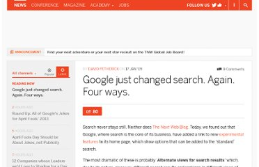 http://thenextweb.com/2009/01/17/google-goes-experimental-four-different-page-one-results-for-a-start/