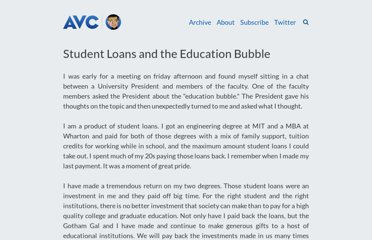 http://www.avc.com/a_vc/2012/09/student-loans-and-the-education-bubble.html