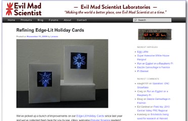http://www.evilmadscientist.com/2009/refining-edge-lit-holiday-cards/