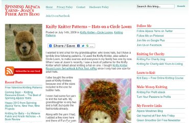 http://spinningalpacayarns.com/knifty-knitter-projects-hats-on-a-circle-loom.html