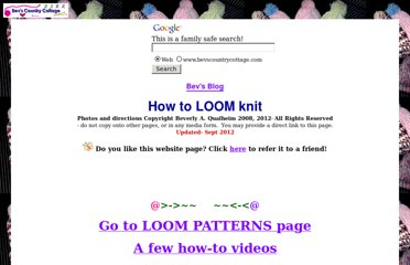 http://www.bevscountrycottage.com/how-to-loom-knit.html